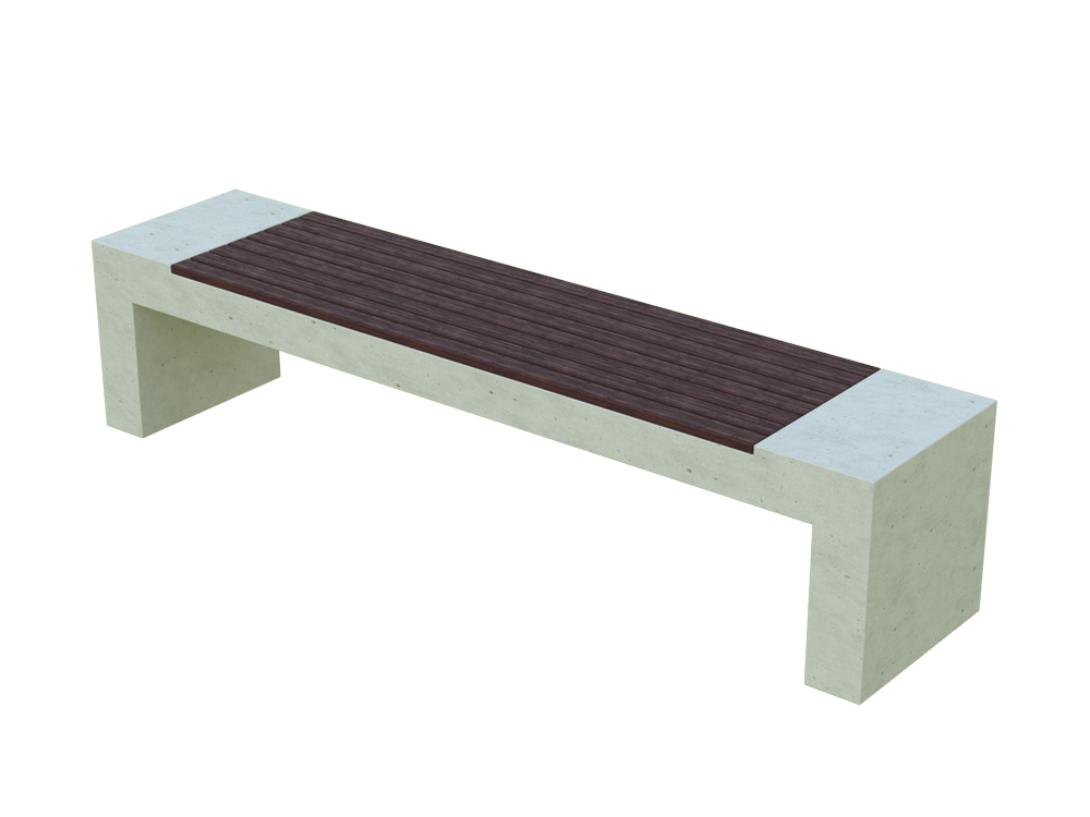Скамья бетонная Bench Wood (WHITE MONOCHROME)