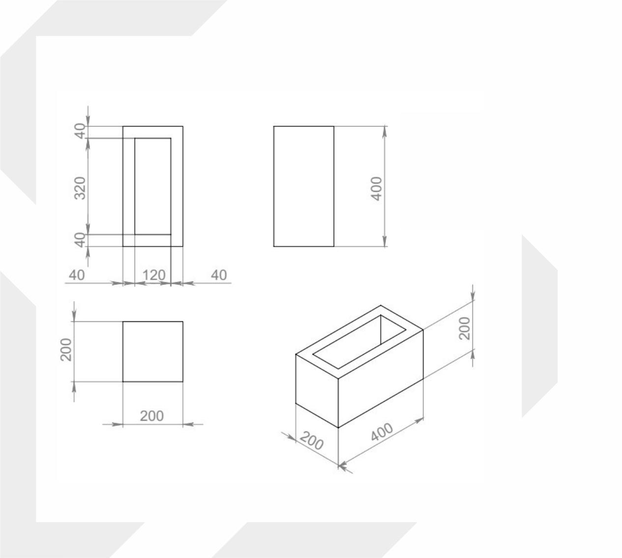 Блок вентиляционных каналов, 200x400x200 мм image 1
