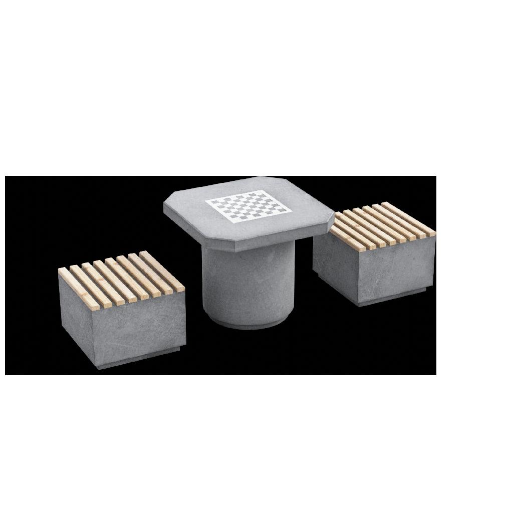 Шахматный комплект (2 бетонные скамьи и стол) main image